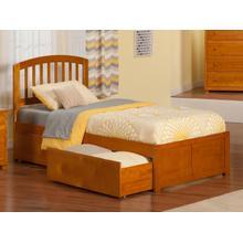 Richmond Twin XL Flat Panel Foot Board with 2 Urban Bed Drawers Caramel Latte