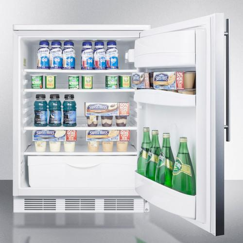 Product Image - Built-in Undercounter All-refrigerator for General Purpose Use W/automatic Defrost, Stainless Steel Wrapped Door, Thin Handle, and White Cabinet