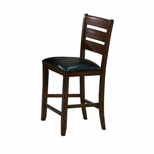 ACME Urbana Counter Height Chair (Set-2) - 00682 - Black PU & Cherry