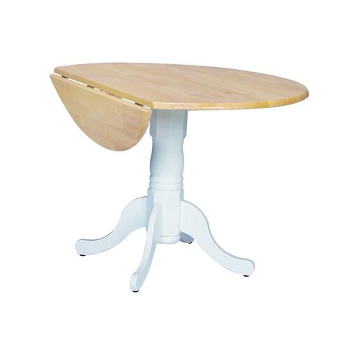 John Thomas Furniture - Round Dropleaf Pedestal Table in White & Natural