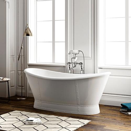 "Milan 66"" Acrylic Double Slipper Tub - Polished Nickel Drain and Overflow"