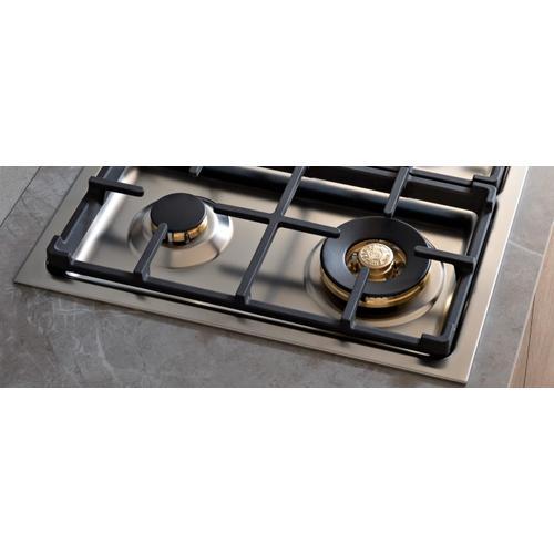 Bertazzoni - 30 Drop-in Gas Cooktop 4 brass burners Stainless Steel
