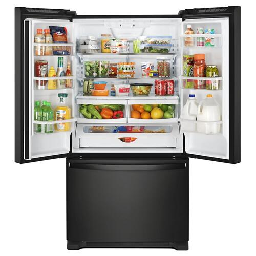 Whirlpool - 33-inch Wide French Door Refrigerator - 22 cu. ft. Black