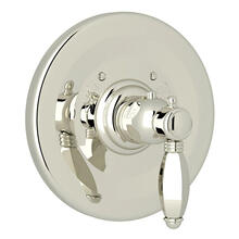 Hex Thermostatic Trim Plate without Volume Control - Polished Nickel with Metal Lever Handle