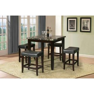 ACME Ainsley 5Pc Pack Counter Height Set - 70728 - Black Faux Marble & Espresso