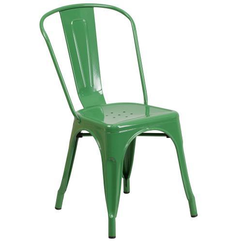 Green Metal Indoor-Outdoor Stackable Chair