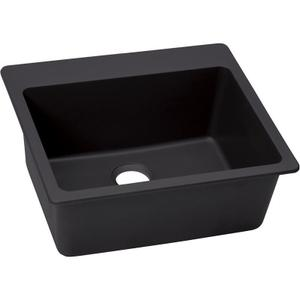 "Elkay Quartz Luxe 25"" x 22"" x 9-1/2"", Single Bowl Drop-in Sink, Caviar Product Image"