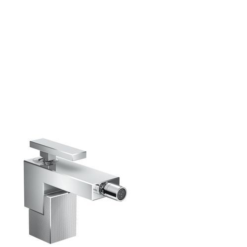 Chrome Single lever bidet mixer with push-open waste set - diamond cut