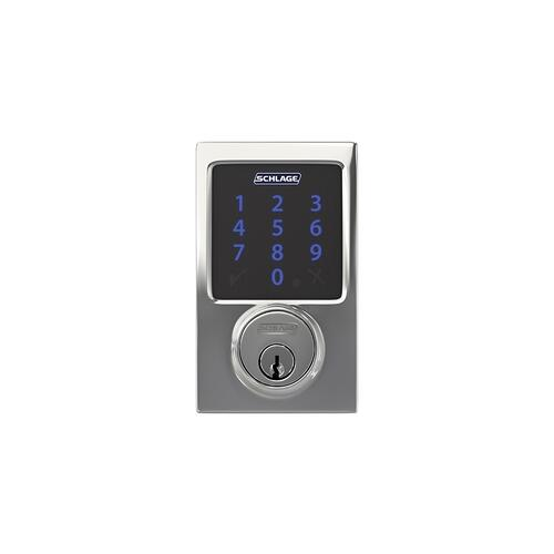 Schlage Connect Smart Deadbolt with alarm with Century trim, Z-wave enabled paired with Accent Lever with Century trim - Bright Chrome