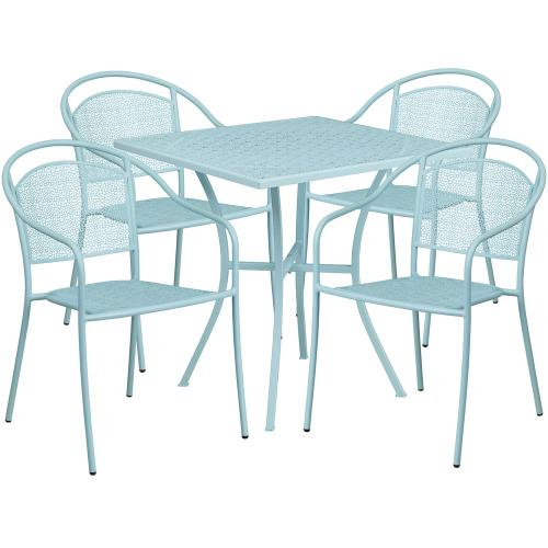 28'' Square Sky Blue Indoor-Outdoor Steel Patio Table Set with 4 Round Back Chairs