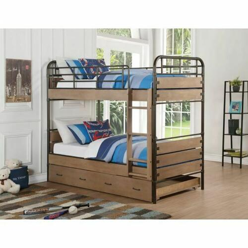 ACME Adams Twin/Twin Bunk Bed & Trundle - 37760 - Antique Oak