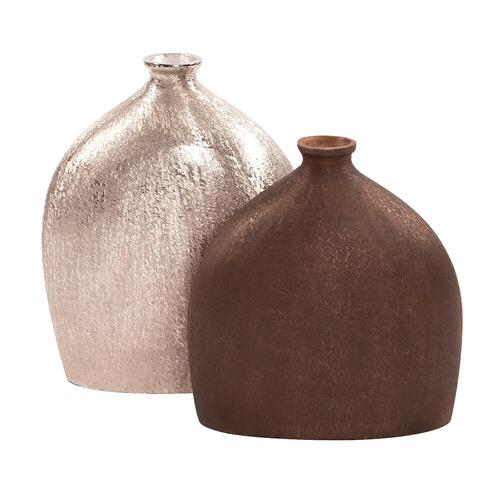 Howard Elliott - Textured Flask Vase in Dark Copper, Small