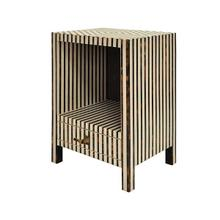 One Drawer Side Table In Brown and Off White Resin Stripe