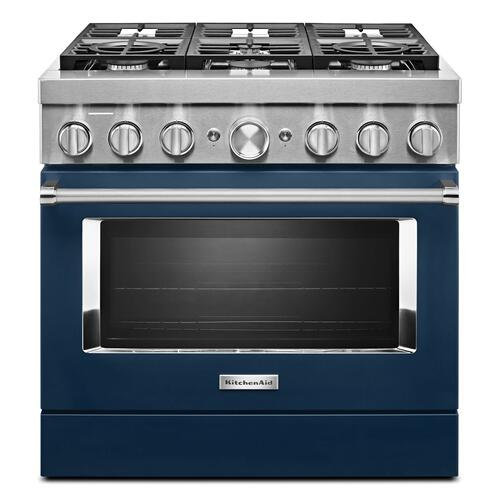 KitchenAid® 36'' Smart Commercial-Style Dual Fuel Range with 6 Burners Ink Blue