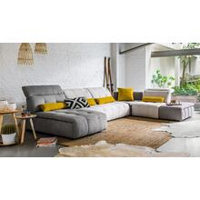View Product - David Ferrari Natura - Italian Modern Light Taupe Fabric Sectional Sofa with Manual Recliner