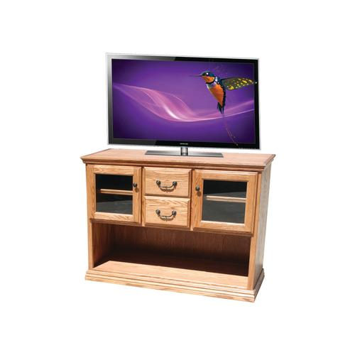 O-T303 Traditional Oak 2-Glass Door Console Table