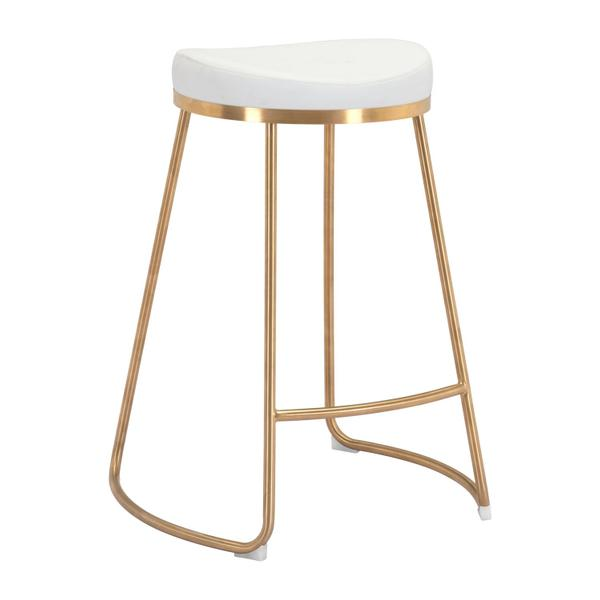 See Details - Bree Counter Stool White & Gold