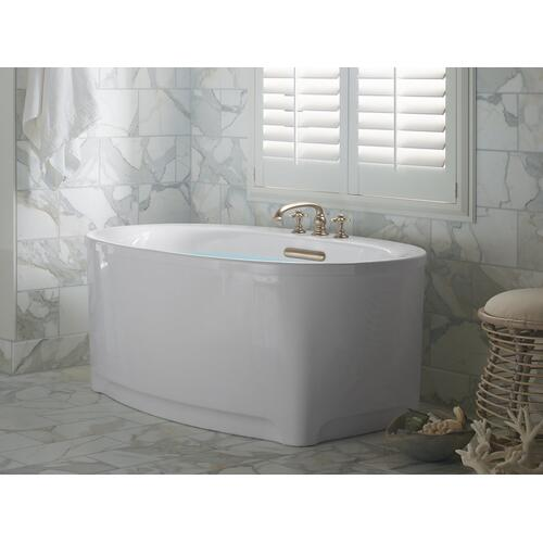 "White 60"" X 36"" Heated Bubblemassage Air Bath With Bask, Center Drain"