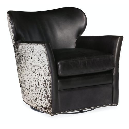 Living Room Kato Leather Swivel Chair w/ Salt Pepper HOH