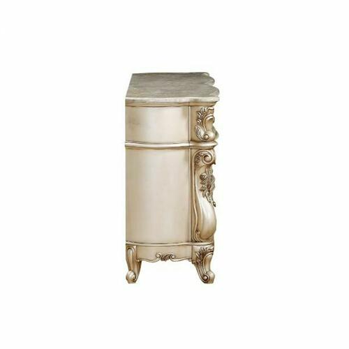 ACME Gorsedd Dresser w/Marble Top - 27445 - Marble & Antique White