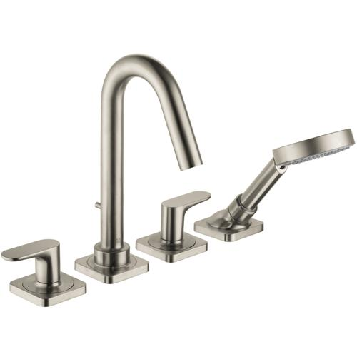 Brushed Nickel 4-hole rim mounted bath mixer with lever handles and escutcheons
