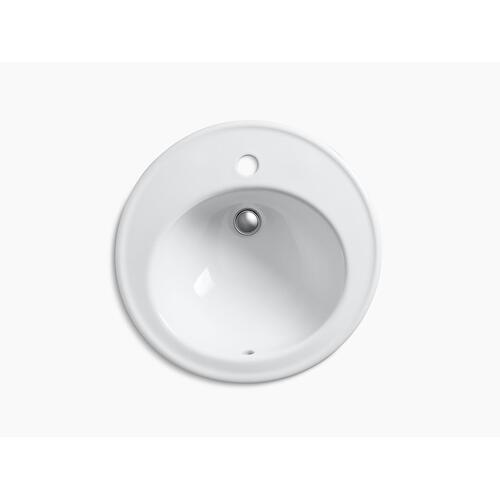 "Black Black 19"" Diameter Drop-in Bathroom Sink With Single Faucet Hole"