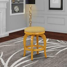 "Bedford Swivel Backless Barstool 24"" Seat Height With Oak Leg And Pu Leather Vegas Gold"