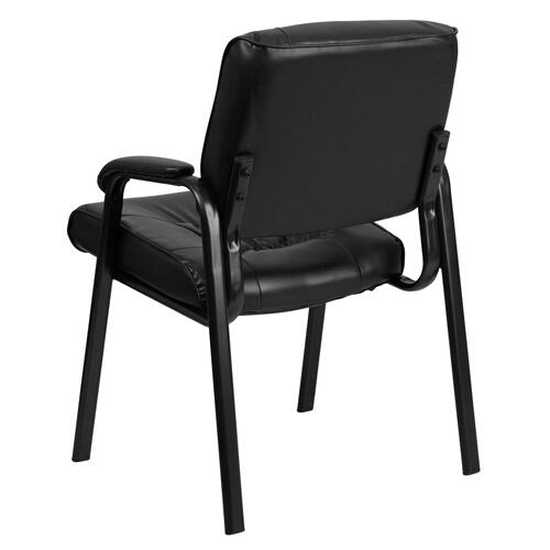 Alamont Furniture - Black Leather Executive Side Reception Chair with Black Metal Frame