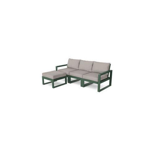 Polywood Furnishings - EDGE 4-Piece Modular Deep Seating Set with Ottoman in Green / Weathered Tweed