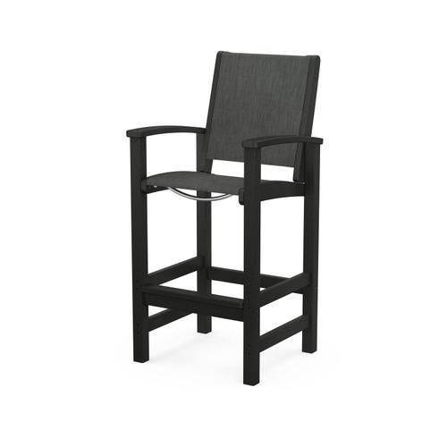 Polywood Furnishings - Coastal Bar Chair in Black / Ember Sling