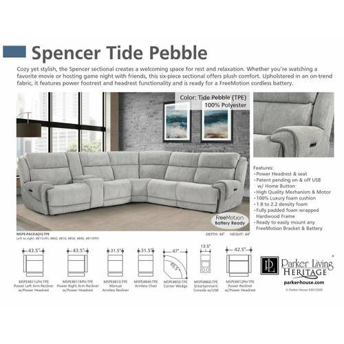 Parker House - SPENCER - TIDE PEBBLE Armless Recliner
