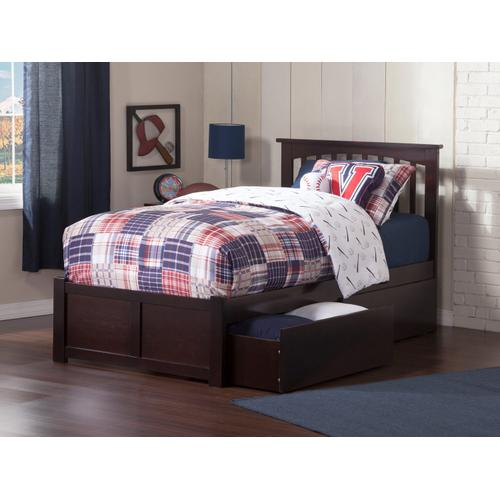 Atlantic Furniture - Mission Twin Flat Panel Foot Board with 2 Urban Bed Drawers Espresso