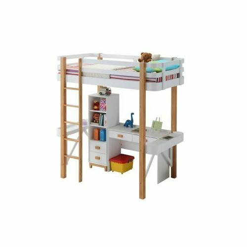ACME Rutherford Desk - 37974 - Scandinavian - Wood (Rbw), Veneer (LVL), MDF - White and Natural