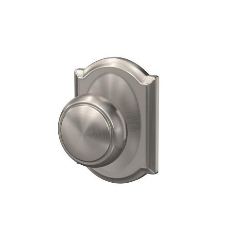 Custom Andover Knob with Camelot Trim Hall-Closet and Bed-Bath Lock - Satin Nickel