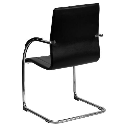 Black Vinyl Side Reception Chair with Chrome Sled Base