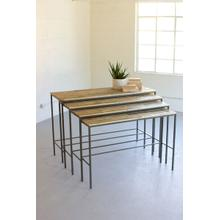 See Details - set of four recycled wood and iron display consoles