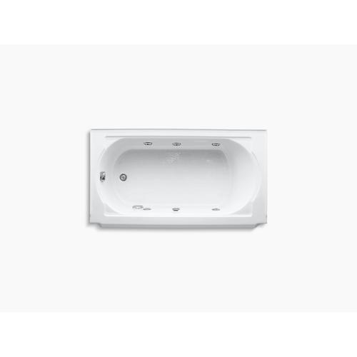"White 60"" X 34"" Alcove Whirlpool With Left-hand Drain and Heater Without Jet Trim"