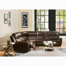ACME Lonna Sectional Sofa (Power Motion) - 53695 - Brown Leather-Gel