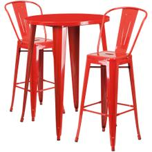 30'' Round Red Metal Indoor-Outdoor Bar Table Set with 2 Cafe Stools