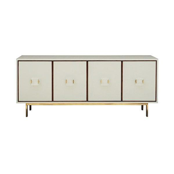 Four Door Low Cabinet In Cream Faux Shagreen With Wood Trim