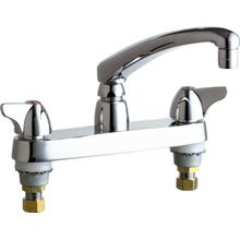 "Deck-mounted manual sink faucet with 8"" centers"