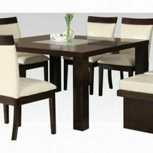 ACME Keelin Dining Table - 71035_KIT - Espresso & Crackle Glass