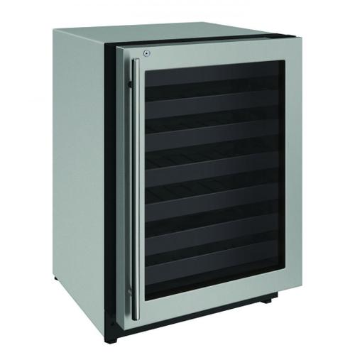 """U-Line - 2224wc 24"""" Wine Refrigerator With Stainless Frame Finish and Right-hand Hinge Door Swing (115 V/60 Hz Volts /60 Hz Hz)"""
