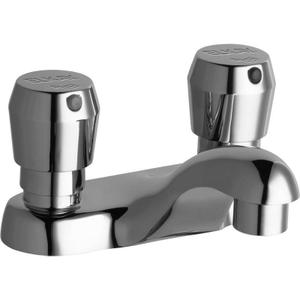 "Elkay Single Hole Deck Mount Metered Lavatory Faucet with 4"" Cast Fixed Spout Push Button Handles Chrome Product Image"