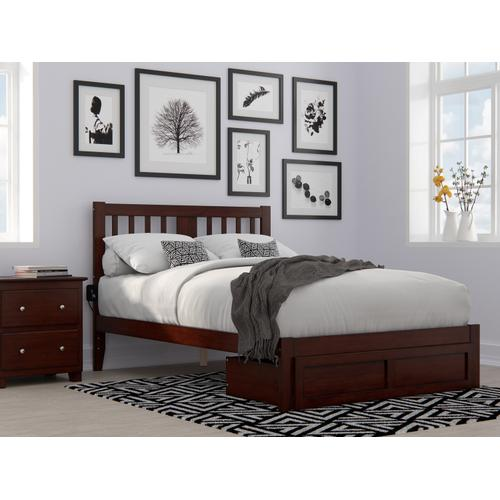 Atlantic Furniture - Tahoe Full Bed with Foot Drawer and USB Turbo Charger in Walnut