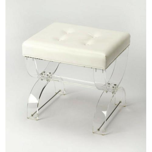 Butler Specialty Company - A perfect addition to your powder room or master suite, this chic vanity stool showcases a curved acrylic X frame and a while tufted PVC cushion, a beautifully crafted essential for your space.