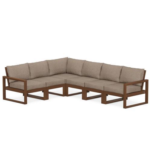 Polywood Furnishings - EDGE 6-Piece Modular Deep Seating Set in Teak / Spiced Burlap
