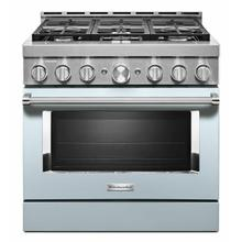 View Product - KitchenAid® 36'' Smart Commercial-Style Gas Range with 6 Burners - Misty Blue