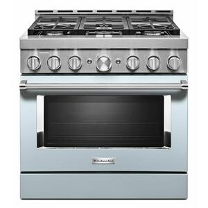 KitchenAid® 36'' Smart Commercial-Style Gas Range with 6 Burners - Misty Blue Product Image
