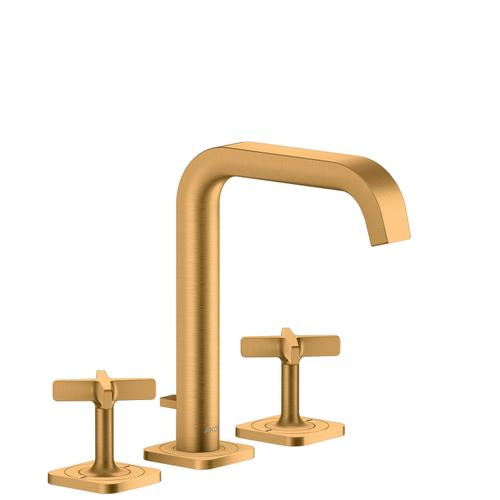 Brushed Gold Optic 3-hole basin mixer 170 with escutcheons and pop-up waste set